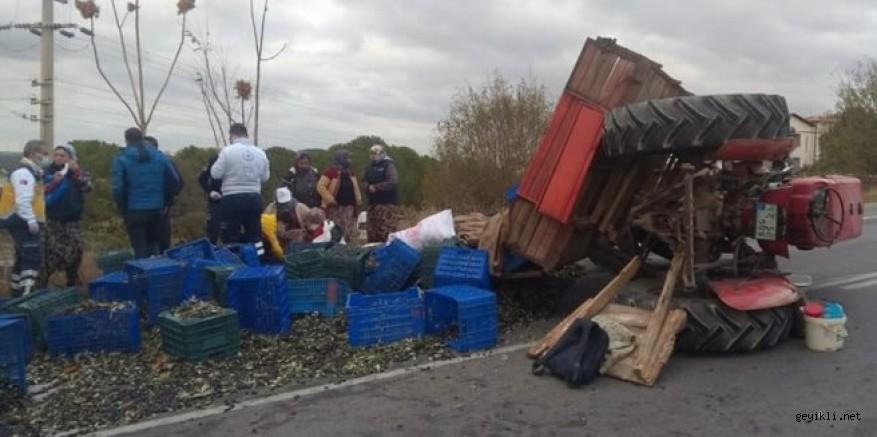 Geyikli'de zeytin işçilerini taşıyan traktörü devrildi 5 yaralı